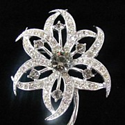 REDUCED Dazzling Sarah Cov Flower Brooch Pin Paved Rhinestones