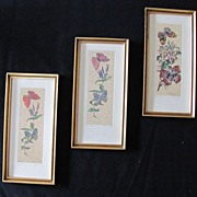 Three Fantastic Floral and Butterflies Block Print