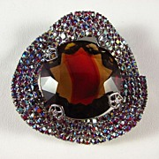 REDUCED Dazzling Large Brooch Pin with AB and Ruby Red Rhinestone