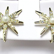 REDUCED Pretty signed Emmons Earrings with AB and Faux Pearl