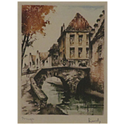 REDUCED Wonderful Etching of Bruges signed by the Artist