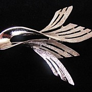 REDUCED Dazzling Large Signed Pell Silver Tone Brooch Pin