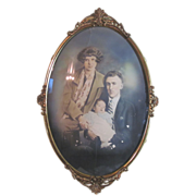 Antique Convex Bubble Glass in a lovely Metal Frame