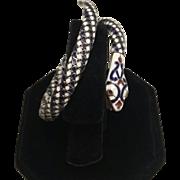 SALE Egyptian Revival Enamel & 900 Silver Enamel Snake Serpent Coil Bracelet