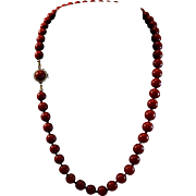 SALE Extraordinary 14K Corsican Oxblood Red Coral 7.6-8mm Bead Necklace - 37.5 grams
