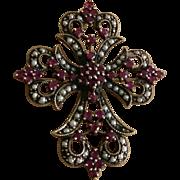 """SALE Antique 1-3/4"""" 9K Art Nouveau Garnet & Seed Pearl Cross Brooch 9.5 ..."""