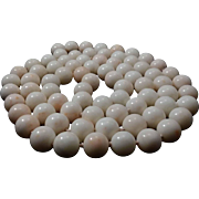 "SALE Endless 37"" White Angelskin Coral Bead 11-11.6mm Necklace - 152.3 grams"
