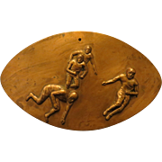 SOLD 1930s Copper Relief Plaque of Football Players