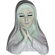 Praying nun head  planter in pink habit