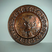 Hammered copper deer charger hanging tray