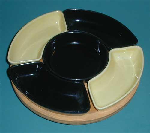 Retro Pottery Black & yellow Lazy Susan