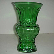 SALE Green paneled flared vase