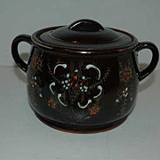 Japan redware brown  bean pot with cups