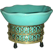 Miniature  aqua Gilner planter with gold sleeve