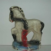 Glittered Carnival prize Chalkware prancing white Horse