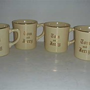 1950 Homer Laughian Tom and Jerry cream colored cups