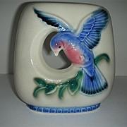 Round arcature blue bird pottery vase