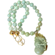 Carved Green Jade Dragon, Jade Necklace