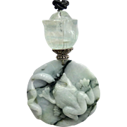 Carved Green Jade Frog, Fluorite Tulip Pendant Necklace