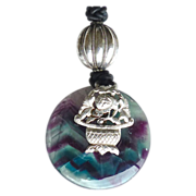 REDUCED Antique Chinese Silver, Rainbow Fluorite Disk Pendant Necklace