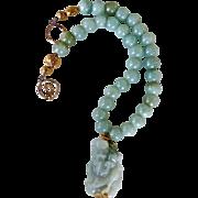 Green Jade God Of Longevity, Fukurokuju, Jade Necklace