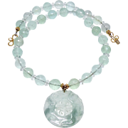 Carved Green Jade Dragon Longevity Pi, Faceted Green Fluorite Necklace