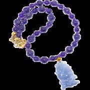 Lavender Jade Fish, Amethyst Necklace