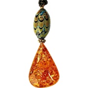 REDUCED Baltic Amber and Hand Blown Glass Bead Pendant Necklace