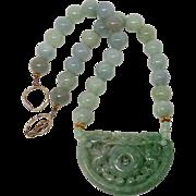 Carved Green Jade Double Dragon Lock, Burmese Jade Necklace