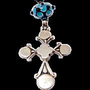 SALE Vintage Indonesian Silver Cross, Blue Glass Lamp Work Bead Pendant Necklace