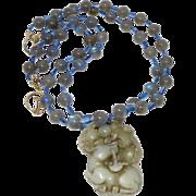 Antique Jade Deer with Labrdorite and Kyanite Necklace