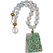 Carved Green Jade Double Dragon with White Jade Lotus Beads Necklace