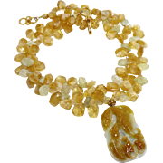 Golden and Aqua Carved Jade Double Fish with Citrine and Aquamarine Necklace