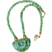 Carved Green Jade Lock, Jade Necklace