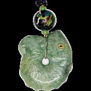 SALE Green Vesuvianite Fish with Vintage Chinese Enamel Bead Pendant Necklace