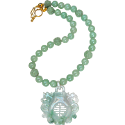 Carved Jadeite Longevity, Luck, Dragon, Phoenix with Green Jade Necklace