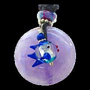 SALE Amethyst Disk, Glass Lamp Work Fish Pendant