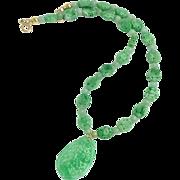 Carved Green Jade Bat & Phoenix, 14k Gold Necklace