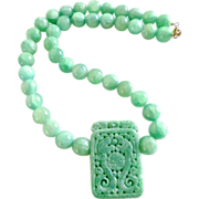 Carved Green Jade Dragon/ Double Phoenix, Enhanced Green Jade Necklace