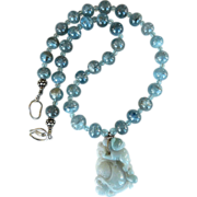 Carved Blue Jade Dragon and Lotus, Kyanite Necklace