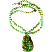 Carved Green Jade Dragon and Phoenix, Chrysoprase Necklace