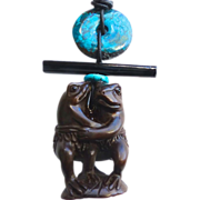SOLD Carved Teak Wood Dancing Frogs Netsuke, Turquoise Pendant Necklace