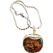 SALE Vintage Amber and Silver Pendant, Indonesian Silver Chain Necklace