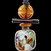 Antique Qing Dynasty Porcelain Shard, Carnelian Pendant Necklace