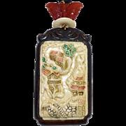 Carved Bone Asian Scene Pendant Necklace