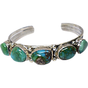 Vintage Native American Turquoise and Silver Cuff Bracelet