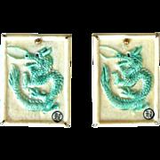 Green Bone Dragon Button Earrings