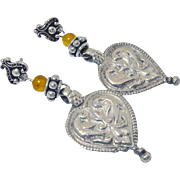 Antique Indian Silver Amulet Pendants, Baltic Amber Drop Earrings