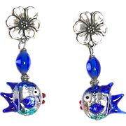 SOLD Blue Glass Lamp Work Fish Drop Earrings
