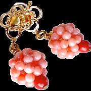 Pink Coral Cluster Drop Earrings